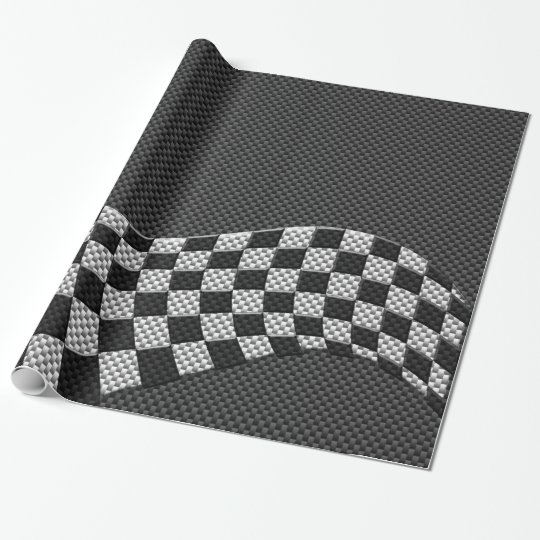 Carbon Fibre Style Chequered Racing Flag Wave Wrapping Paper
