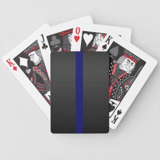 Carbon Fibre Thin Blue Line Black Face Cards Bicycle Poker Deck