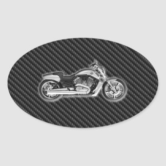 Carbon Harley Motorcycle 3D Fashion Accessory Oval Sticker