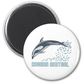 Carbon neutral conservation / dolphin jumping 6 cm round magnet
