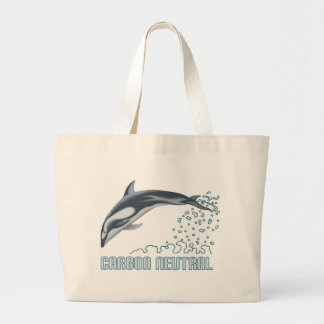 Carbon neutral conservation / dolphin jumping canvas bag