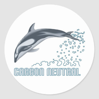 Carbon neutral conservation / dolphin jumping round sticker