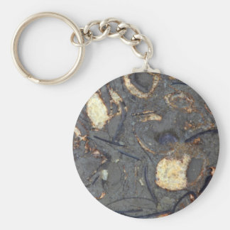 Carbonate rock with fossils basic round button key ring