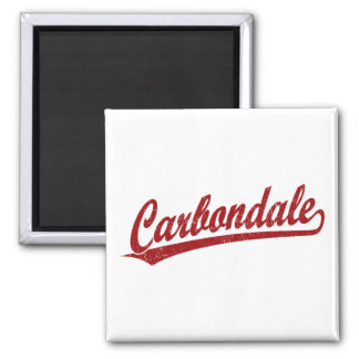 Carbondale script logo in red square magnet