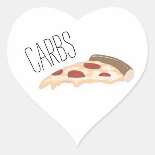 Carbs w/ Pizza Design Heart Sticker