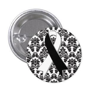 Carcinoid Cancer Damask Black and White Ribbon 3 Cm Round Badge