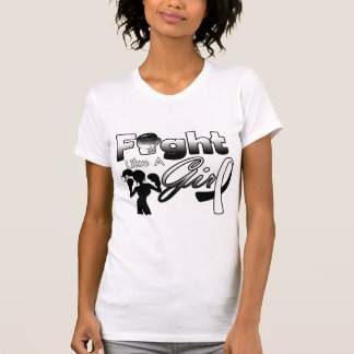 Carcinoid Cancer Fight Like A Girl Silhouette Tshirts