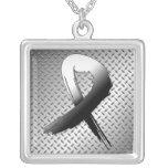 Carcinoid Cancer Grunge Ribbon Metal Style