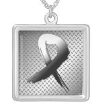Carcinoid Cancer Grunge Ribbon Metal Style Square Pendant Necklace