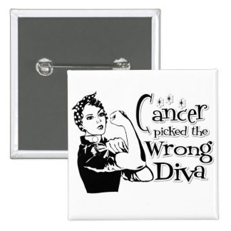 Carcinoid Cancer Picked The Wrong Diva Pinback Buttons