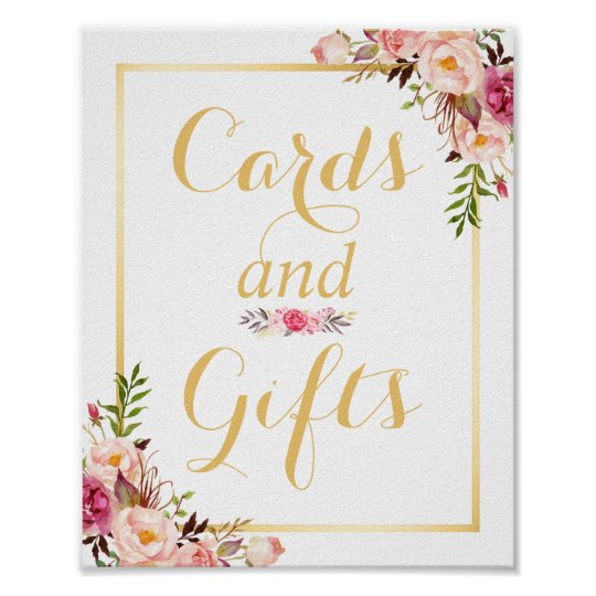 Card and Gifts | Floral Gold Frame Wedding
