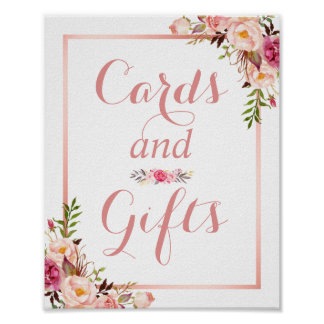 Card and Gifts | Floral Rose Gold Wedding Sign Poster