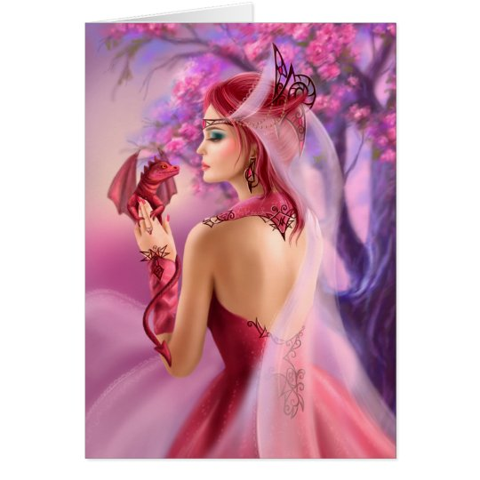 Card Beautiful fantasy woman queen and red dragon