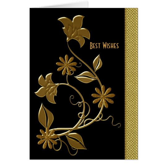 Card Best Wishes Birthday Black Gold Floral