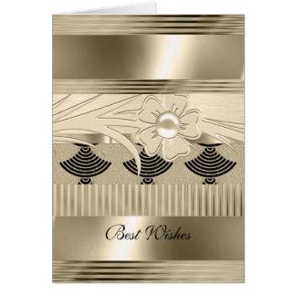 Card Birthday Light Floral Gold Art Deco