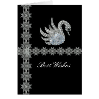 Card Black Lace Diamond Swan Best Wishes Birthday