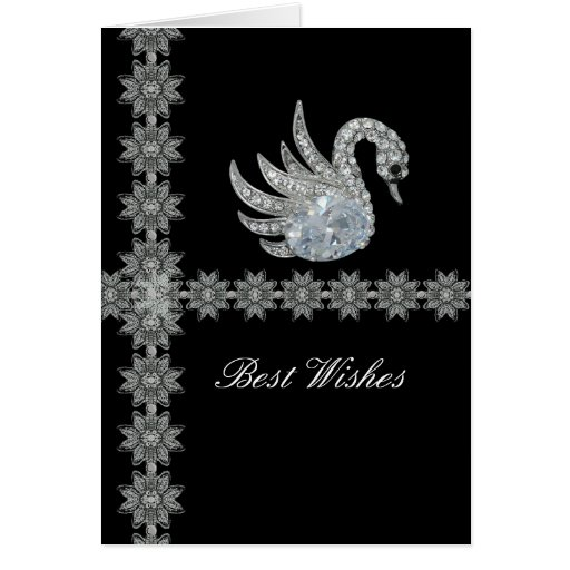 Card Black Lace Diamond Swan Best Wishes Birthday