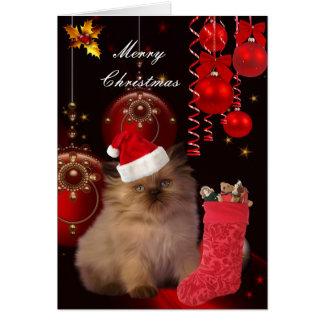 Card Christmas Xmas Cat Hat