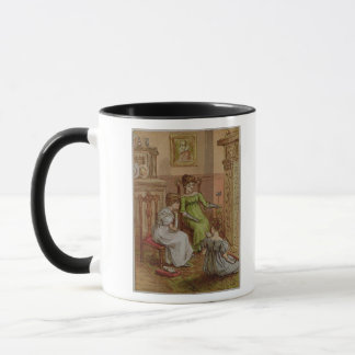 Card depicting a fireside scene mug