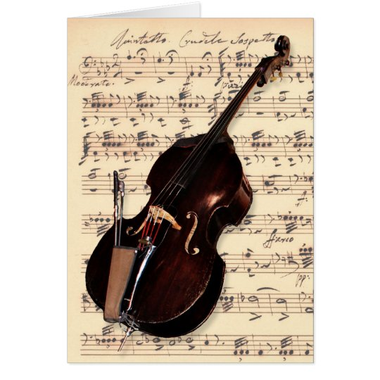 Card - Double Bass with hand written sheet