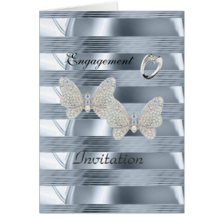 Card Engagement Silver Blue Ring Butterflies