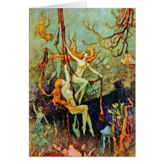 Card:  Fairy Mermaids -  by Warwick Goble Greeting Card