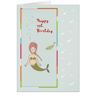 Card for a 7th Birthday, Mermaid with Fish