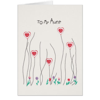 Card for Aunt on Valentine's Day Hearts & Flowers