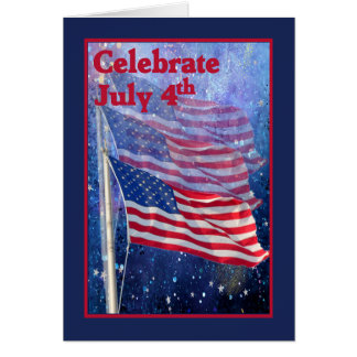Card for Independence Day with Three Flags