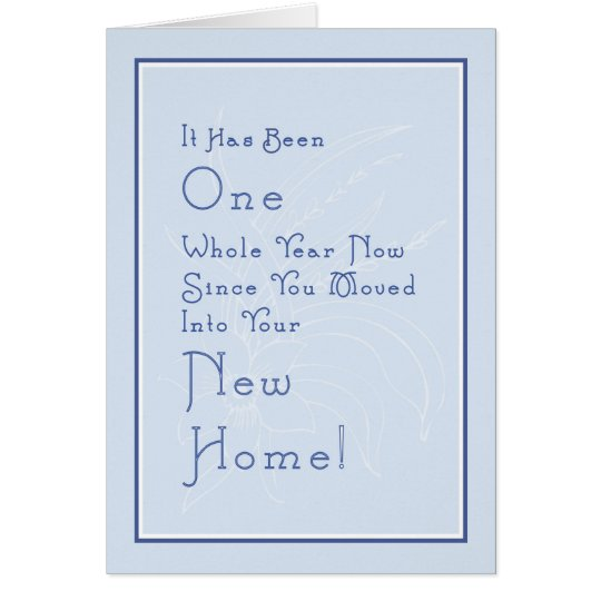 Card for New Home Anniversary, Light Blue