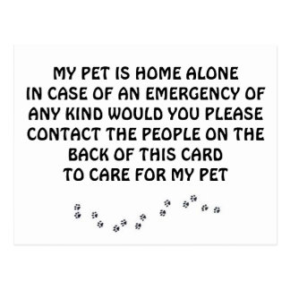 CARD FOR *PETS* IN CASE ***YOU** HAVE AN EMERGENCY POSTCARD
