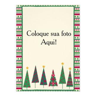 """Card frame """"Pinheirinhos """" 14 Cm X 19 Cm Invitation Card"""