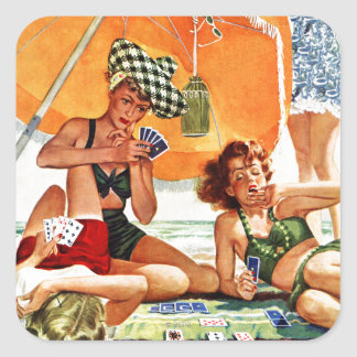 Card Game at the Beach by Alex Ross Square Sticker