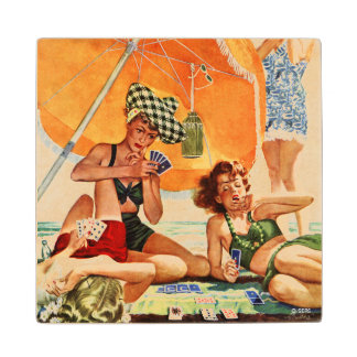 Card Game at the Beach by Alex Ross Wood Coaster