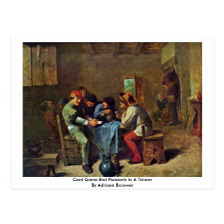 Card Game End Peasants In A Tavern Postcard