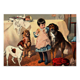 Card: Girl and Dogs Card