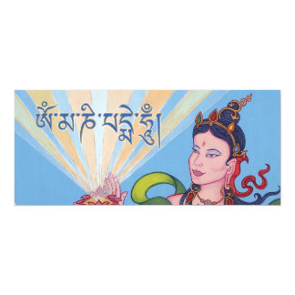 CARD Goddess, lotus and mantra OM MANI PADME HUM 10 Cm X 24 Cm Invitation Card