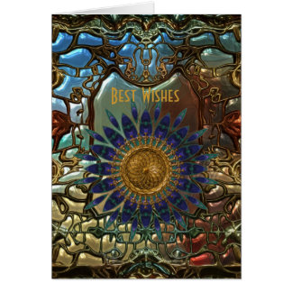 Card Gold Metal Art Nouveau Best Wishes Birthday 3