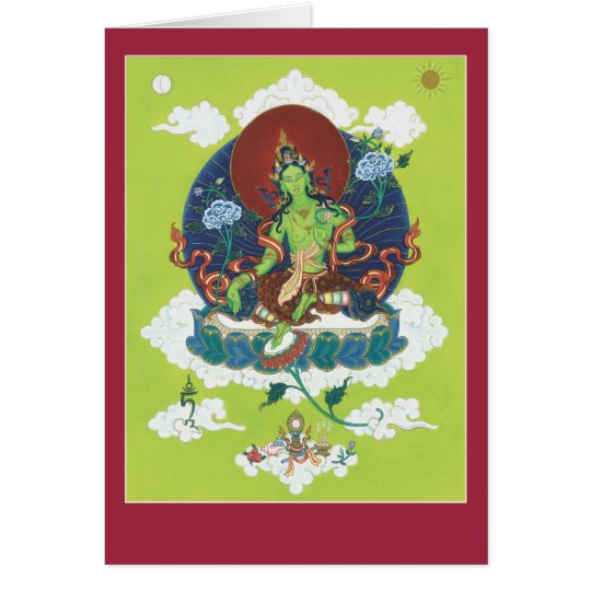 CARD Green Tara - with explanation and mantra