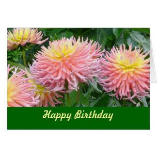 "card, ""HAPPY BIRTHDAY"" DAHLIAS, PINK & YELLOW Greeting Card"