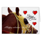 Card - horse racing theme valentine`s day