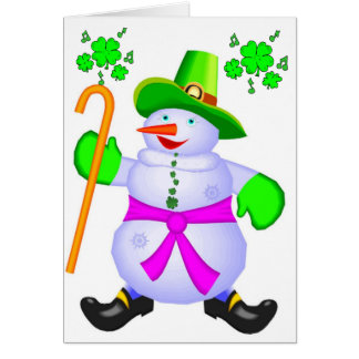 Card-Irish Snowman Christmas Blessings Ireland Card
