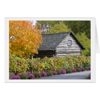 "Card, ""LOG CABIN AND FLOWERS"" Greeting Card"