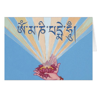 CARD Lotus with mantra OM MANI PADME HUM