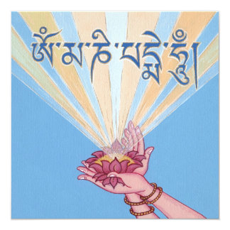 CARD Lotus with Mantra OM MANI PADME HUM 13 Cm X 13 Cm Square Invitation Card