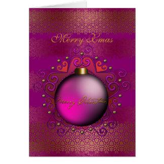 Card Merry Christmas Deep Plum Pink Gem