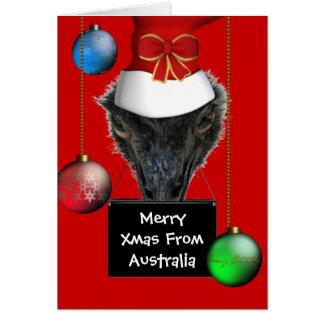 Card Merry Xmas From Australia Emu Hat