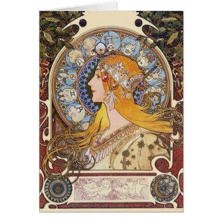 Card: Mucha - Zodiac - La Plume Card