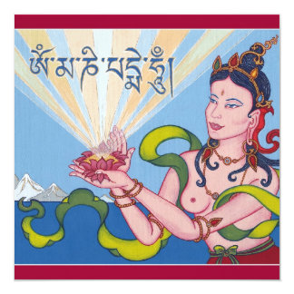 CARD Offering Goddess with mantra + envelope 13 Cm X 13 Cm Square Invitation Card