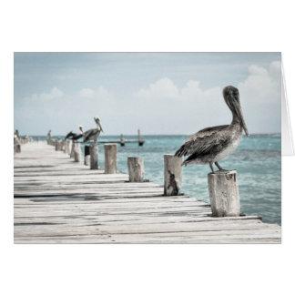 Card - Pelicans on Pier - Happy Birthday